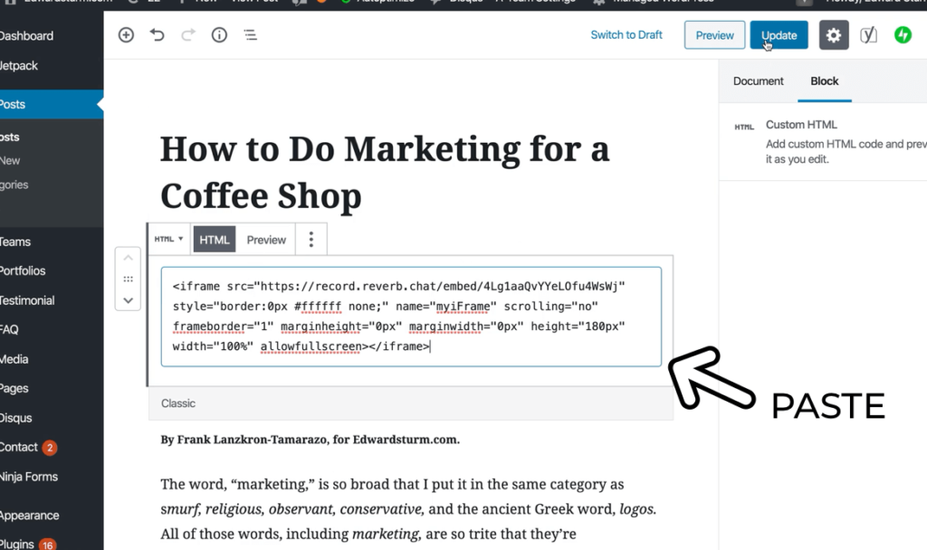 Paste the embed code into your blog
