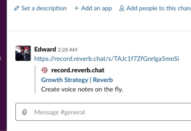 A slack voice message