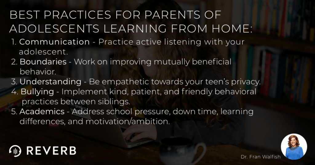 Best practices for parents of adolescents learning from home.