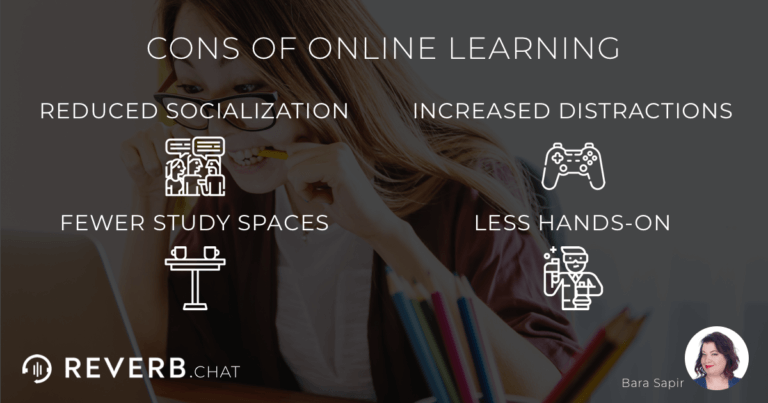Cons of distance learning: reduced socialization, increased distractions, fewer study spaces, less hands-on.