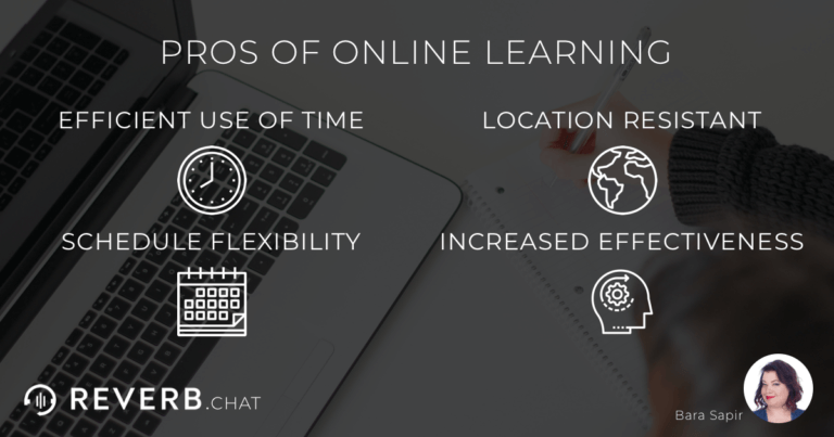 Pros of distance learning: efficient use of time, location resistant, schedule flexibility, increased effectiveness.
