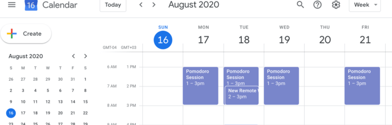 A calendar filled with Pomodoro study sessions.